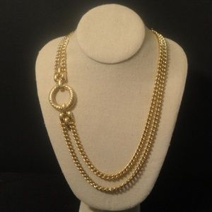 2 Strand gold tone chunky chain necklace